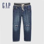 Gap男幼童 時尚水洗直筒型鬆緊牛仔褲 599702-藍色