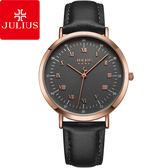 JULIUS 聚利時時光旅人雙刻度皮錶帶腕錶百搭黑39mm ~JA 1016E ~