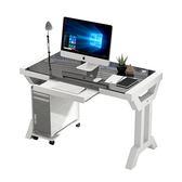 電腦台式桌家用書桌簡約經濟型鋼化玻璃辦公桌簡易寫字工作台式桌子 1995生活雜貨NMS