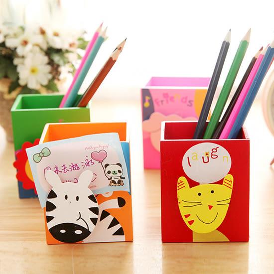 ✭米菈生活館✭【L176】卡通動物木質收納盒 筆筒 文具 畫具 學生 兒童 桌面 辦公室 留言 便籤 夾
