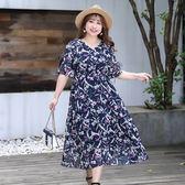中大尺碼~清新印花雪紡短袖洋裝(XL~4XL)