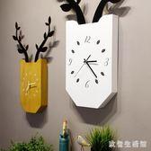 掛鐘北歐創意鹿客廳臥室靜音時鐘木質方形掛表現代簡約家居壁掛 KB7522 【歐爸生活館】