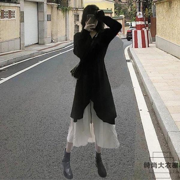 法式連身裙復古裙子森系長裙早秋冬季加絨【時尚大衣櫥】