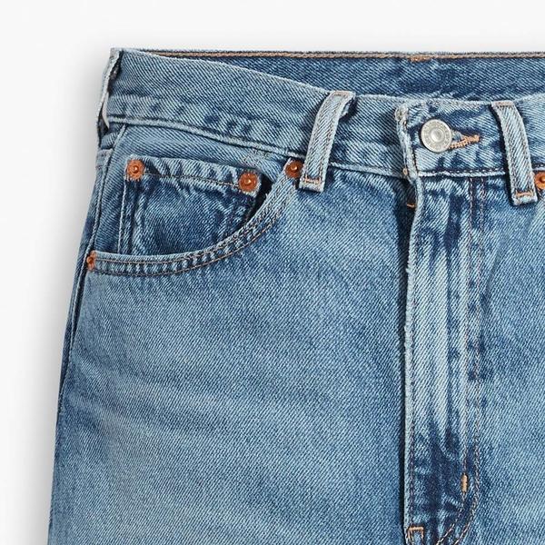 Levis 女款 High Loose 復古超高腰牛仔寬褲 / 精工中藍染水洗 / 開口大破壞 / 寒麻纖維
