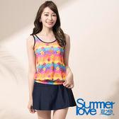 【Summer Love 夏之戀】亮麗印花長版兩件式泳衣(E17794)