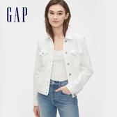 Gap女裝 淺色純色翻蓋牛仔外套 542533-光感白