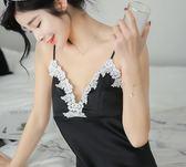 新款睡裙性感睡衣女夏天冰絲綢吊帶情趣內衣極度誘惑帶胸墊家居服M-2XL月光節
