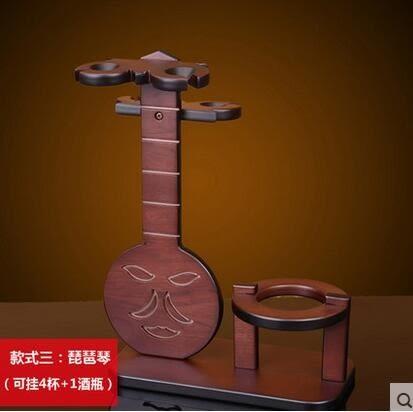 實木紅木色創意歐式紅酒架懸掛高腳杯架 紅酒杯架子酒 架櫃子擺件
