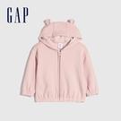 Gap嬰兒 可愛熊耳造型連帽外套 656201-淡粉色