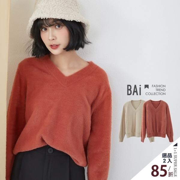 毛衣 柔軟毛海毛線織V領上衣-BAi白媽媽【302202】