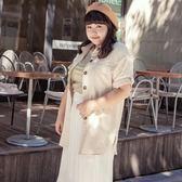 Poly Lulu 經典琥珀排扣長版短袖襯衫-卡其【91040070】