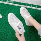 內增高鞋女透氣拖鞋女夏季外穿韓版百搭網面包頭坡跟休閒時尚內增高懶人鞋潮 快速出貨