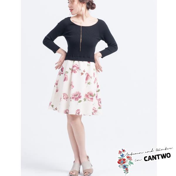 CANTWO羅紋印花裙假兩件洋裝(共二色)~春夏新品登場網路獨家