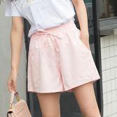 女夏棉麻熱褲寬鬆休閒百搭學生格子裙褲       伊芙莎