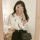 衬衫 秋裝設計感女小眾洋氣喇叭袖蝴蝶結雪紡白襯衫2020氣質網紅襯衣