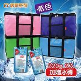 G+居家系列  加大款 防潑水亮彩保溫袋贈冰磚2入-紫色