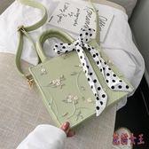 蕾絲絲巾時尚手提包 洋氣女包2019新款潮韓版百搭斜挎包 BF23212【花貓女王】