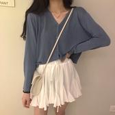 防曬衫女新款夏季外搭V領針織開衫韓版糖果色長袖薄款空調衫新年交換禮物