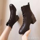 高跟短靴馬丁靴女顯腳小秋冬新款粗跟高跟英倫風短靴春秋單靴ins潮 【快速出貨】