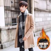 風衣外套 冬季男士風衣中長款英倫男韓版加厚帥氣修身呢子外套 df9908【Sweet家居】