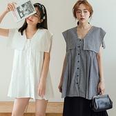 MIUSTAR 立體車褶大方領排釦棉麻上衣(共3色)【NJ2010】預購