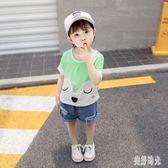 女童上衣 夏季新款休閒上衣純棉薄款0-1-2-3歲女寶寶時髦卡通單件半袖 aj4074『美好時光』