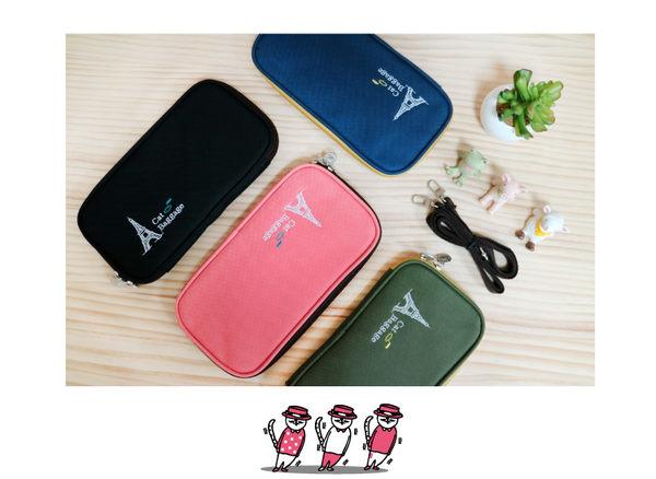 青青 貓行李系列 CBG-245 刺繡多功能側背護照包