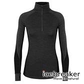 【icebreaker】ZONE 女 網眼保暖半開襟長袖上衣 BF260『灰黑』 舒適 羊毛 吸濕 排汗 抑味 控溫 104394