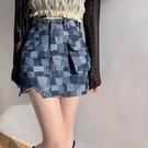 短裙 性感辣妹裙子ins格子短裙女2021新款春夏季a字高腰牛仔包臀半身裙