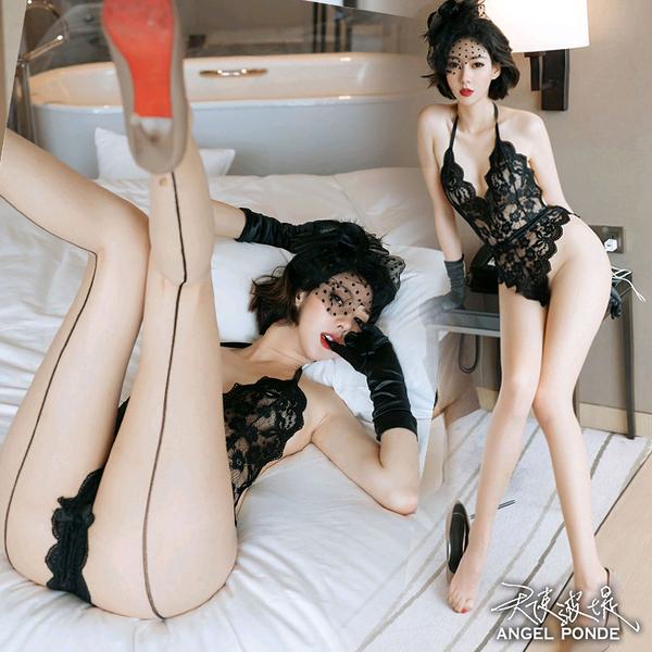 天使波堤【LD0611】蕾絲四線束腰連身比基尼裸背情趣內衣開檔暗扣死褲水蕾絲罩衫馬甲一件式-黑色