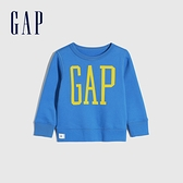 Gap男幼童 碳素軟磨系列 Logo刷毛休閒上衣 656444-水藍寶石色