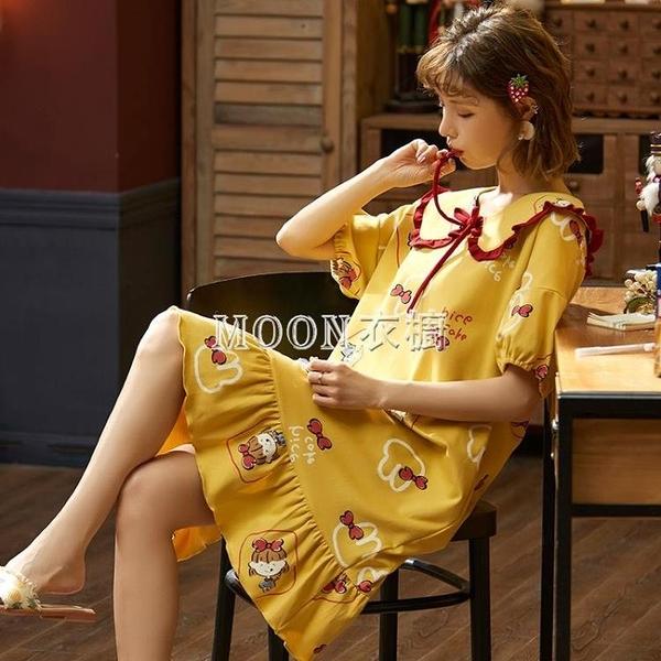 睡衣女士夏天棉質睡裙女韓版可愛學生加大碼少女孕婦家居服胖mm裝 快速出貨