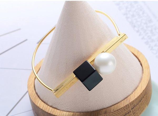 正韓Nuance 珍珠方塊手環~夏綠蒂didi-shop