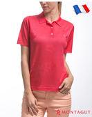 女款短袖POLO衫 夢特嬌法國製造亮絲系列 優雅純色花紋-紅色