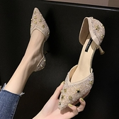 春季新款 高跟鞋女仙女風百搭時尚水鉆性感中空細跟尖頭單鞋子