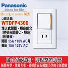 Panasonic《國際牌》 星光系列 WTDFP4306 螢光單開關+單插座附蓋板【一開一插組合】