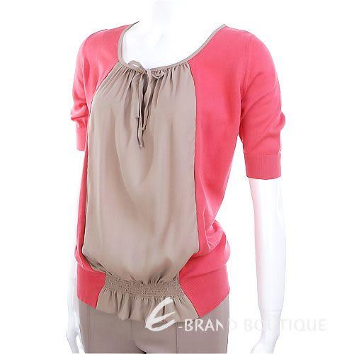 FABIANA FILIPPI 雙色拼接五分袖上衣(粉桃/可可色) 1220022-13