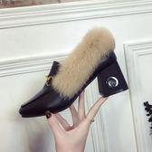 毛毛鞋女粗跟高跟單鞋百搭加絨小皮鞋中跟豆豆女鞋潮 露露日記