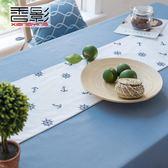 藍色桌布地中海茶幾電視柜桌旗布藝棉麻小清新現代簡約餐桌布北歐   歐韓流行館