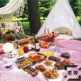 戶外野餐籃雙人手提保溫編織籃帶蓋田園野餐用品【左岸男裝】