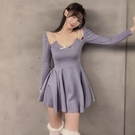 年會禮服 女冬季新款時尚法式氣質修身顯瘦性感小個子年會禮服短裙子【快速出貨八折搶購】