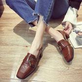 小皮鞋女夏季新款百搭英倫粗跟單鞋中跟鞋雙色可選35-39碼 店家有好貨