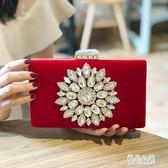 2018新款晚宴包紅色新娘包鑲鉆宴會包手拿包結婚包伴娘包禮服包包 KB6672【優品良鋪】