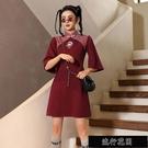 紅色旗袍年輕款春夏短袖少女改良現代中國風洋裝小個子刺繡【全館免運】