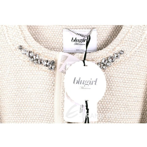BLUGIRL 卡其色鑽領飾邊七分袖毛呢外套 1620466-28