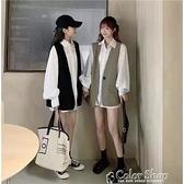 風春秋2021新款女學生休閑小西裝馬甲中長款純色襯衫