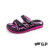 G.P(女)高彈性舒適雙帶拖鞋 女鞋-黑桃(另有紫)