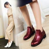 {丁果時尚}大尺碼女鞋34-43►18年秋冬新款V口拉鍊釦環短靴 低跟踝靴子裸靴*3色