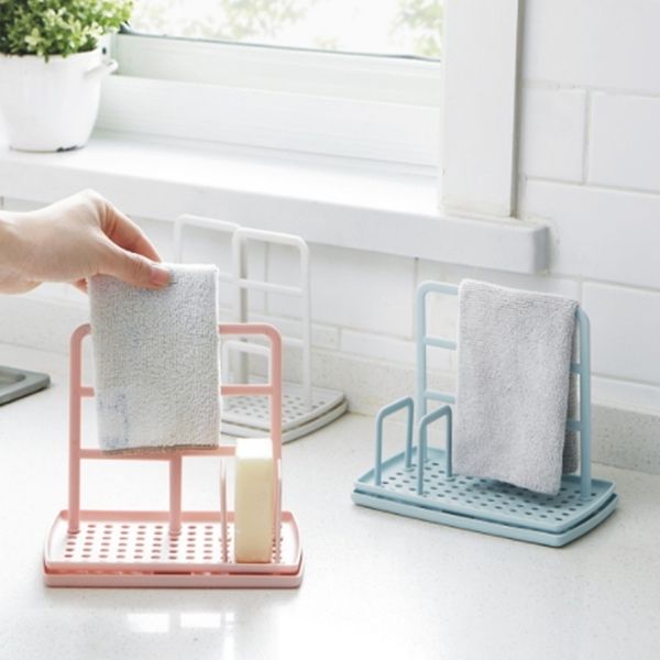 廚房桌面抹布架 瀝水免打孔海綿肥皂置物架【庫奇小舖】