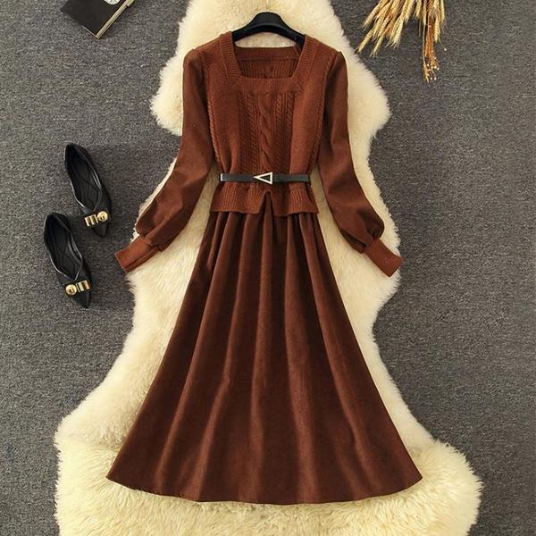 長袖洋裝 禮服 連身裙法式復古方領假兩件連身裙子女神范身服氣質高端NE68-A1 胖妞